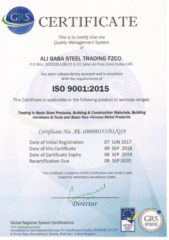 ISO 9001 Ali Baba Steel Trading FZCO01-00